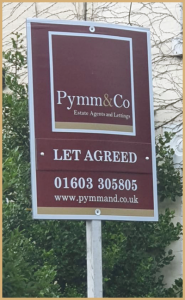 Pymm & Co Estate Agents in Norwich For Sale sign