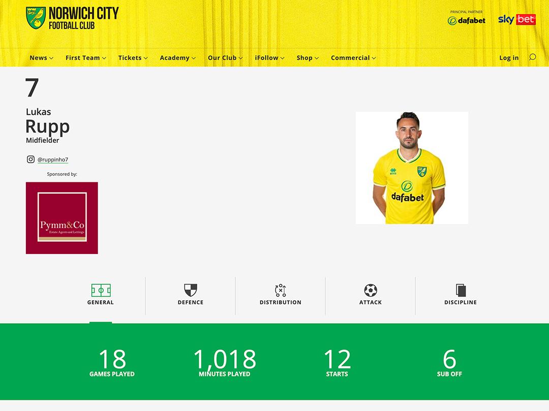 Norwich City Football Club midfielder Lukas Rupp, sponsored by Pymm & Co Estate Agents in Norwich