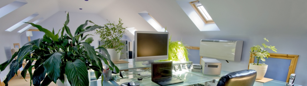 Home office space with a converted attic in a property
