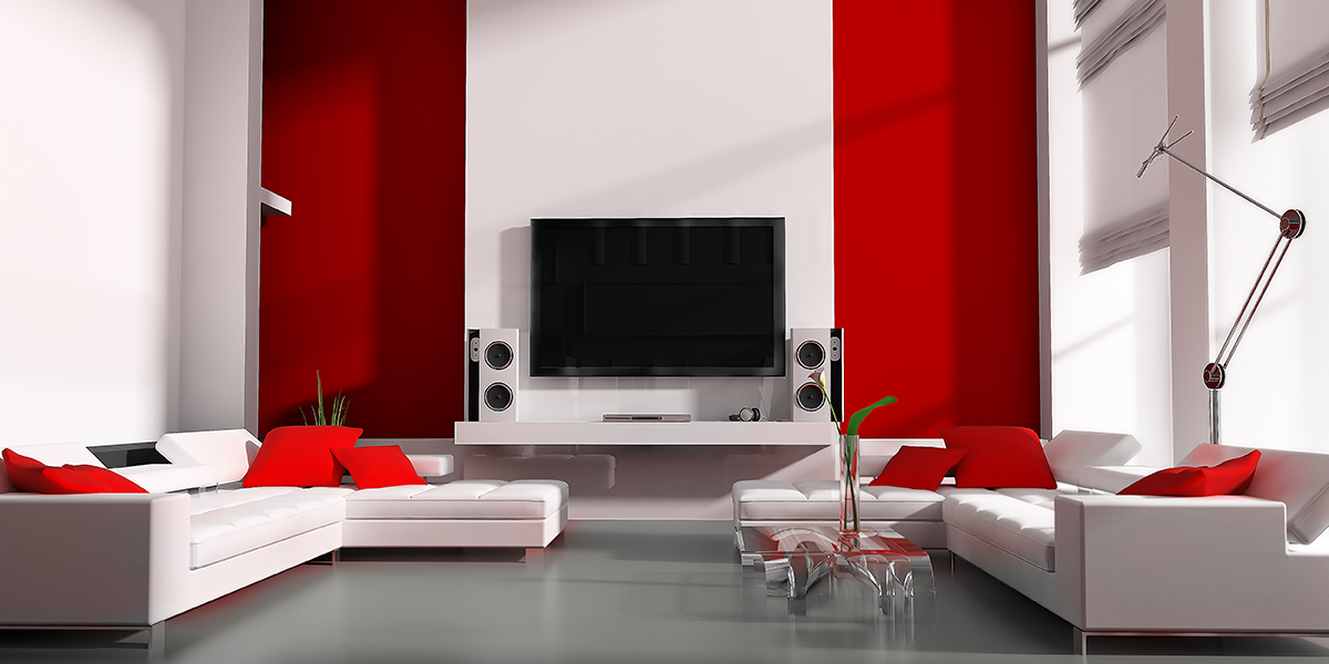 Living room with feature wall in red