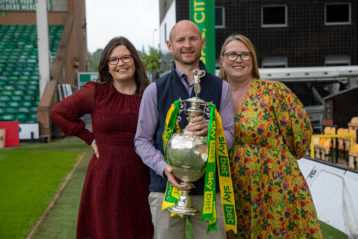 Sarah Norman, Stuart Monument and Deborah Yardy at the Pymm & Co brand partner takeover at Carrow Road