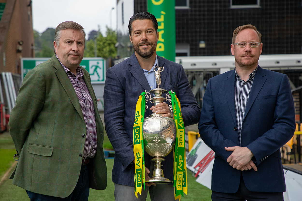 Andrew Fox, Steve Pymm and Leon Ramsden of Pymm & Co Estate Agents in Norwich at Carrow Road