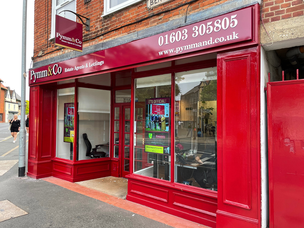Office revamp includes repainting and new signage at Pymm & Co Norwich